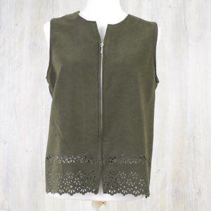 First Option Green Vest Medium Floral Cutout